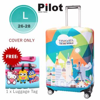 Pilot LC002 Korean Style Travel Accessories 26-28 Inches(L) ElasticCartoon Lovely Luggage Protector Waterproof Spandex Travel SuitcaseCover Trolley Case (Big Big World) FREE Luggage Tag