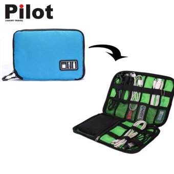 Pilot Travel Accessories MB-101 USB Cable Gadget Tablets EarphonePen Insert Portable Organizer Kit Case Storage Zipper Bag (LightBlue)