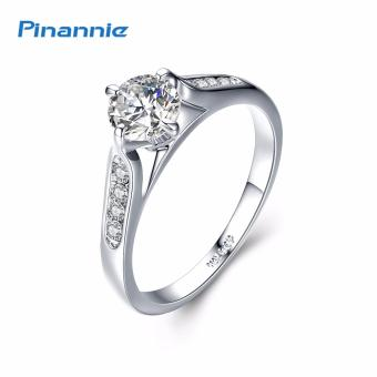 Pinannie 1ct Clear Cubic Zirconia White Gold Plated Engagement Rings Jewelry for Women