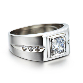 Pinannie Genuine 925 Sterling Silver Cubic Zirconia Men Rings Jewelry for Mens - 2