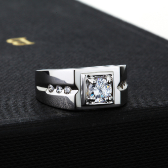 Pinannie Genuine 925 Sterling Silver Cubic Zirconia Men Rings Jewelry for Mens - 3