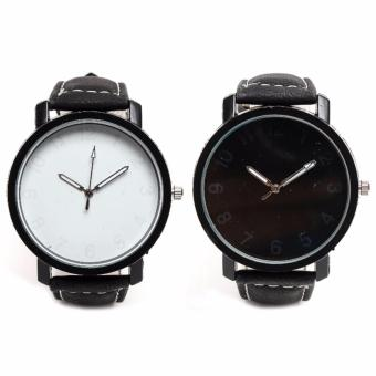 Plain Couple Watch Black and White Dial Leather Watch Price Philippines