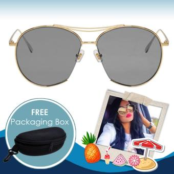 Plated Square Sunglasses Shades Sun Glasses #SG1019 (Gold/Black) with FREE Packaging Box