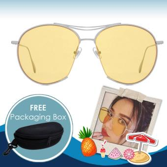Plated Square Sunglasses Shades Sun Glasses #SG1019 (Yellow) with FREE Packaging Box