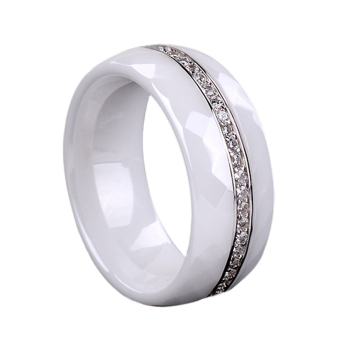 Polished Nano Ceramic Dome Ring with S925 Sterling Silver & CZ Diamond Embedded White Gold Electroplated Size #7 #8 #9 8mm Width (Intl)