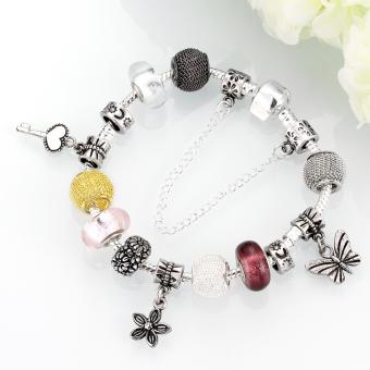 Popcorn H005-B Heart Tag Charm Silver Plated Bracelet with Zircon Inlay - 3