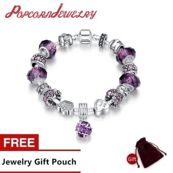 Popcorn H009-B Silver Plated Purple Glass Stones Tassel Pandora Bracelet (Purple)