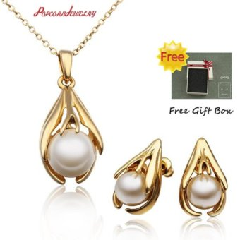 Popcorn S312 Artificial Pearl Pendant Necklace and Earrings Party Jewellery Set (Gold Plated)