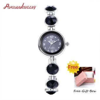 Popcorn WH0042A Round Shape Female Women Lady Casual Quartz Watchwith Crystal diamond bracelet/Chain(Black)