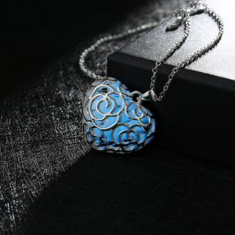 Popcorn YGN065-C Heart Shaped With Night Fluorescent Blue PendantNecklace Party Jewelry (Blue) - 4