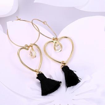 Popcorn YW-LXE015 Bohemia/Korean Style Hollow Heart-Shaped With Water Drop Diamond Tassel Dangle Earrings - 4