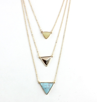 Popular brand in Europe and America three layer triangular multi-layer necklace