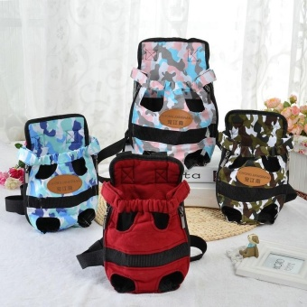 Portable Pet Puppy Double-shoulder Prothorax Bags Dog Travel Carrier Dog Front Backpack Pet Bags Dog Pack Bag Chest Pack Army Pink-S - intl