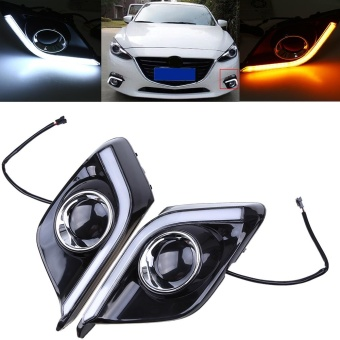 Possbay Pair Car White+Yellow Light LED Daytime Running DRL LampsFor Mazda Axela 2013-2016 - intl
