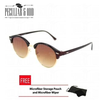Premium Round Clubmaster 4253_Brown Classic Sunglasses with Brown Flash And Replaceable Lenses Unisex