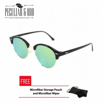 Premium Round Clubmaster 4253_Green Classic Sunglasses with Green Flash And Replaceable Lenses Unisex