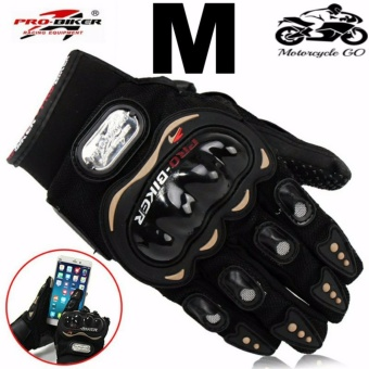 Pro-Biker Carbon Fiber Bike Motorcycle Motorbike Racing Gloves Black (M)