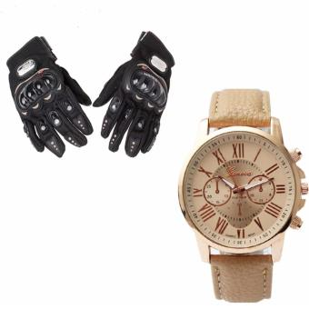 Pro-Biker Carbon Fiber Bike Motorcycle Motorbike Racing GlovesBlack (L) with Geneva Women's Roman Brown Leather Strap Watch