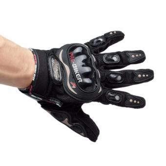 Pro-Biker Carbon Fiber Motorcycle Motorbike Racing Gloves Full Size Black (L)
