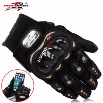 Pro-Biker Carbon Fiber Motorcycle Motorbike Racing Gloves Full SizeBlack (L)