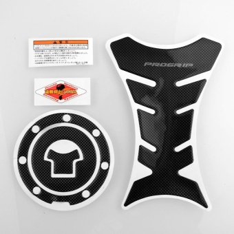 Progrip Carbon Motorcycle Tank Protector Sticker + Gas Cap For Honda F4 DIY - intl