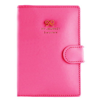 PU Leather Anti Demagnetization Travel Journey Passport ID CardHolder Case Cover Purse Organizer Rose Red