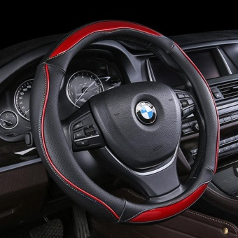 PU Leather Auto Steering Wheel Covers Diameter 38cm for FullSeasons-Black - intl
