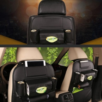 PU Leather Car Seat Back Storage Bag Holder Organizer HangerMulti-Pocket Black - intl