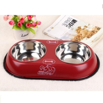 Pudding Stainless steel bowl dog basin cat bowl Red - intl Price Philippines