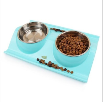 Pudding Stainless steel leakproof dog bowl pet bowl Blue - intl