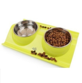 Pudding Stainless steel leakproof dog bowl pet bowl Yellow - intl
