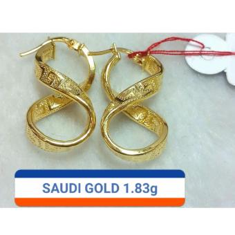 Pure Saudi Gold 18K Infinity earrings 1.83g