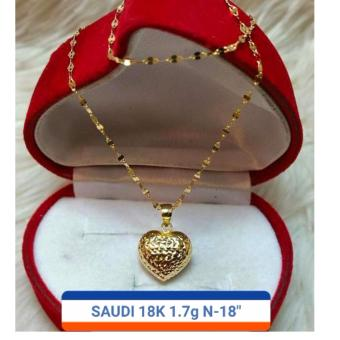 Pure Saudi Gold 18K Necklace with Pendant heart 1.7g