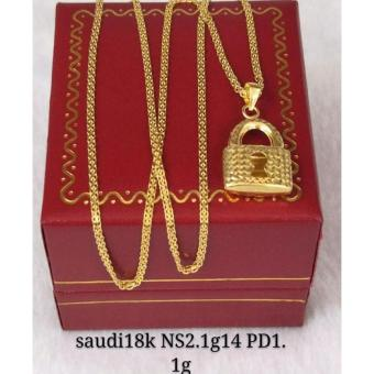 Pure Saudi Gold 18K Necklace with Pendant Padlock design 2.6g L-16inches - 2
