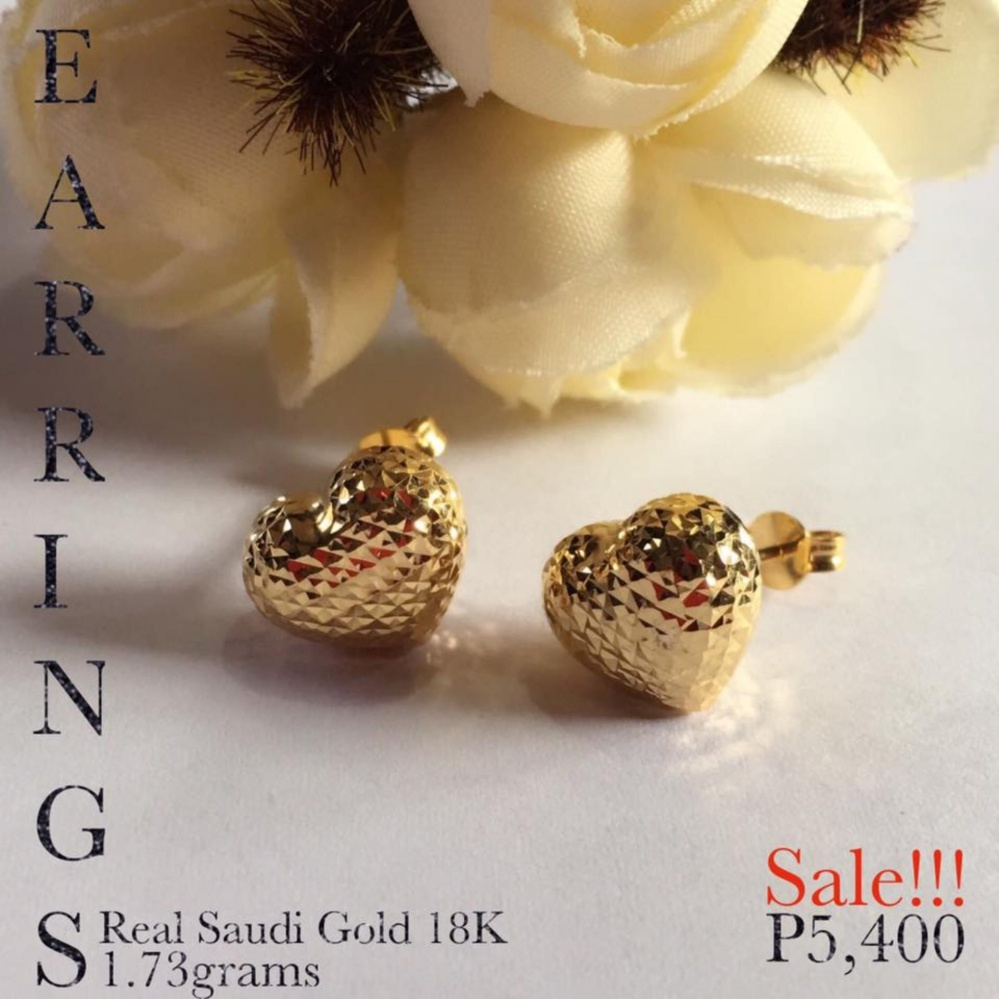 Pure saudi Gold 18K Real Gold Stud Earrings Pawnable Christhas ...