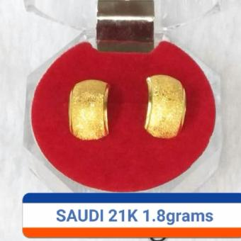 Pure Saudi Gold 21K earrings plain1.8grams