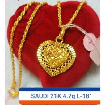 Pure Saudi Gold 21K Necklace with heart Pendant 4.7g L-18inches