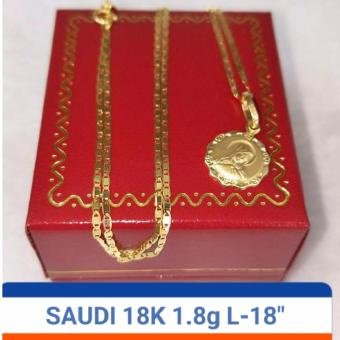 Pure Saudi Gold 18K Necklace w/ Mary Pendant 1.8grams