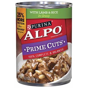 Purina Alpo Prime Cuts Lamb and Rice Adult Wet Canned Dog Food 374g (3 cans)