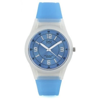 Q&Q by Citizen, QQ VQ50J011Y Light Blue Rubber Strap White Case Light Blue Dial, Analog 100-Meter Water Resistant Men's and Women's Watch