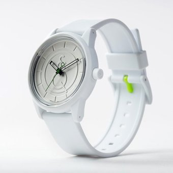 Q&Q SmileSolar White Rubber Strap Watch J001Y