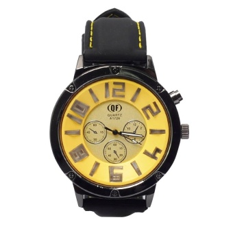 QF 1056 New Men's Military Style With Three Sub-Dial Design Rubber Band Watch (Yellow) #0127