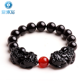 Quanbingshi enlightenment natural obsidian eye double crystal bracelet