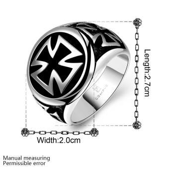 R166 Cool 316L Stainless Steel Cross Ring 8 - Intl - picture 2