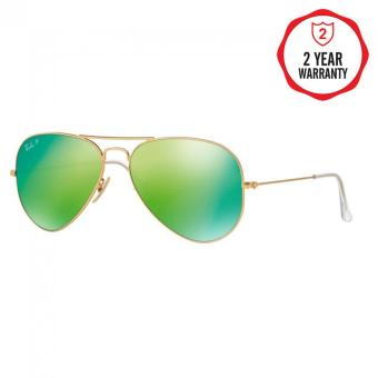 Ray-Ban Sunglasses Aviator Large Metal RB3025 - Matte Gold (112/P9)Size 58 Green Mirror Polar