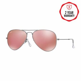 Ray-Ban Sunglasses Aviator Large Metal RB3025 - Matte Silver(019/Z2) Size 58 Brown Mirror Pink
