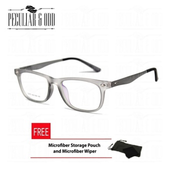 Rectangular Multicoated Replaceable Eyeglasses E075_Gray with Spring Hinges Unisex Optical Frame Multi-coated Computer Anti-Radiation Blue Lens