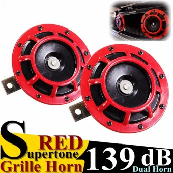Red 139DB Auto Motor Grilles Super Loud Compact Tone Blast Air Horn Universal - intl