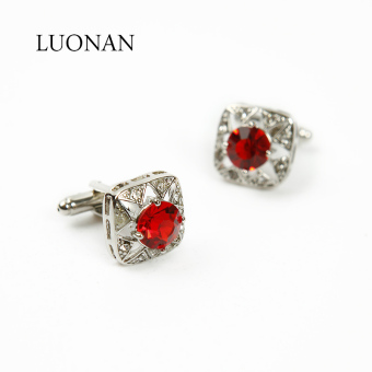 Red men diamond set cuff cufflinks shirt cufflinks