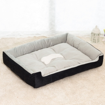 Removable Puppy Cat Dog Bed Cushion Blanket Kennel Pet House XXS(Black)